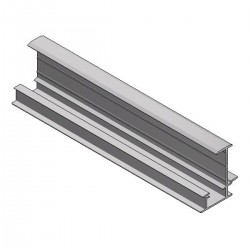 Aluminum insert profile mid H40 L6650 black